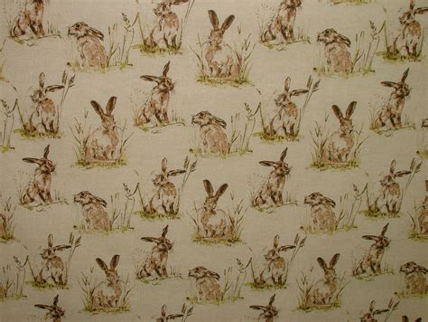 Hares Vintage Linen Look Animal Print Designs Curtain