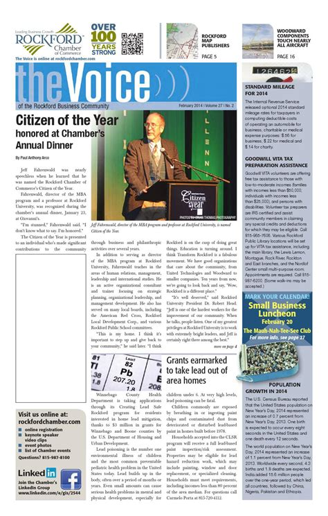 Rockford Mba by February Voice 2014 By Rockford Chamber Of Commerce Issuu