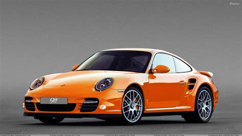orange porsche porsche 9ff dr640 front side pose in orange wallpaper