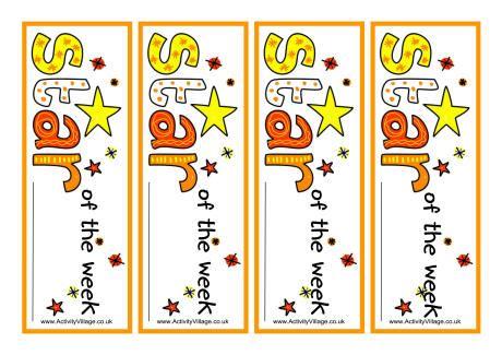 printable star of the week badge star of the week bookmarks