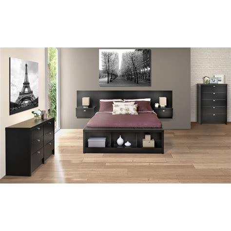 floating headboard with nightstands prepac series 9 designer floating w nightstands black