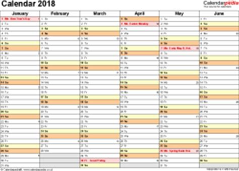 excel calendar 2018 (uk): 16 printable templates (xlsx, free)