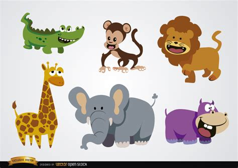 imagenes de animales salvajes para niños animales salvajes en dibujos animados divertidos vector