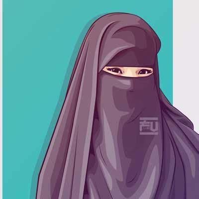 gambar kartun muslimah  bercadar kata kata bijak