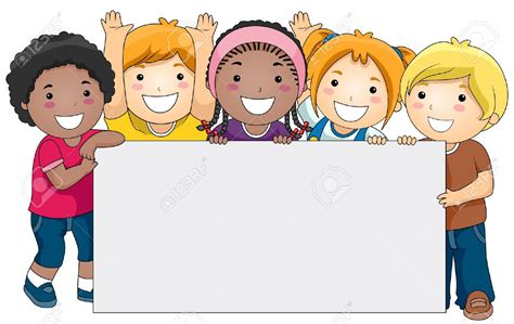 children clipart with a blank board against white background stock