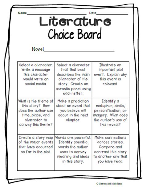 literacy math ideas free literature choice board