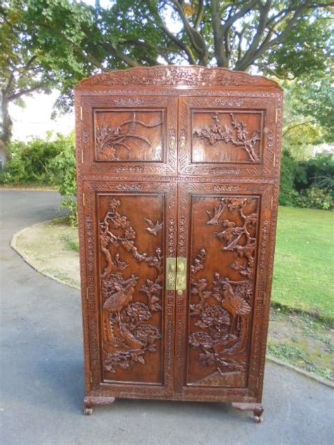 oriental chinese carved camphor wardrobe armoire