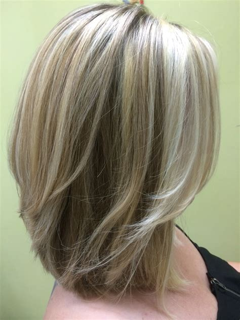 med length bob graduated layers three shades of blonde shoulder length layered bob my