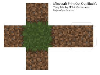 Minecraft Papercraft Grass Block - minecraft grass dirt block template cut out