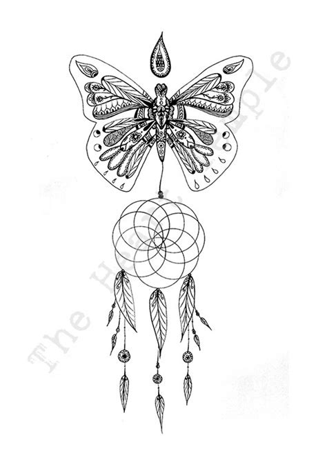 dreamcatcher butterfly feathers design art drawing