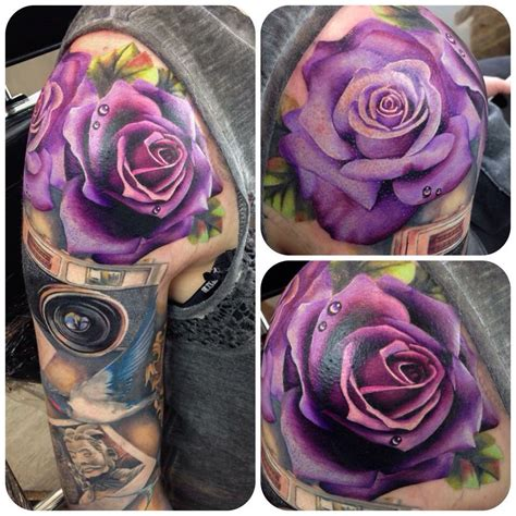 violet and rose tattoo stunning purple ideas
