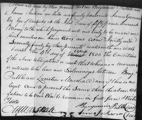 Early Kentucky Marriage Records Benjamin Pribble And Lucretia Marshall