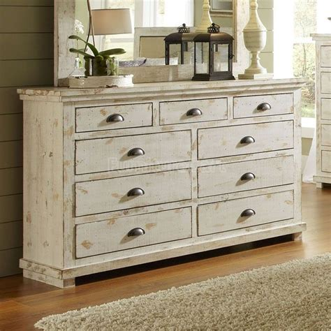 Distressed Dresser White willow drawer dresser distressed white flip it