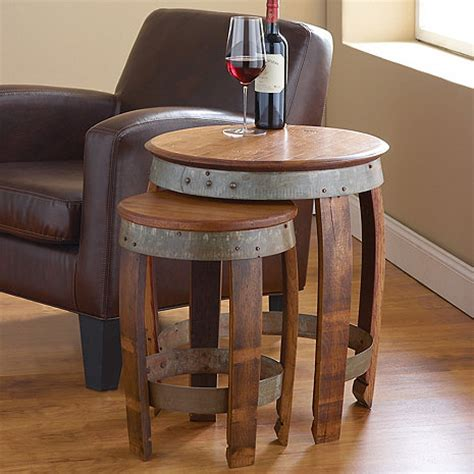 wine barrel table for sale barrel nesting tables wine enthusiast