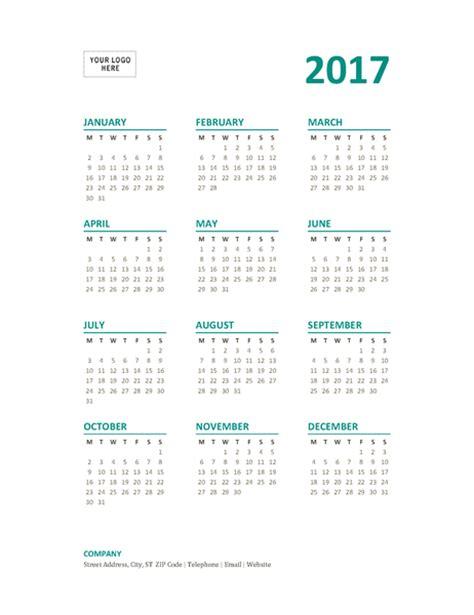 calendar at a glance template 2017 year at a glance 2017 calendar word template