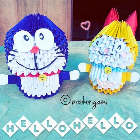 Origami 3d Doraemon - doraemon and dorami 3d origami by brookorigami on deviantart