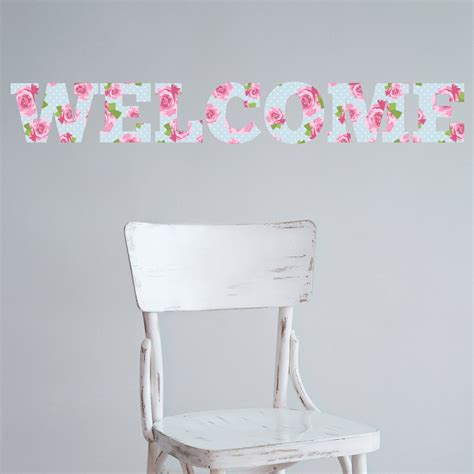 welcome shabby chic floral vintage wall sticker wallstickers co uk