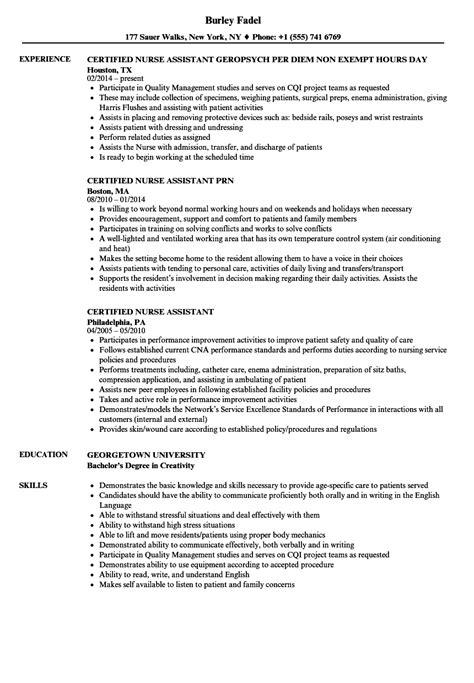 sample cna resume 19 nursing assistant certified
