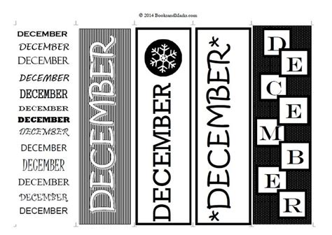 printable december bookmarks 8 best printable bookmarks days months holidays and