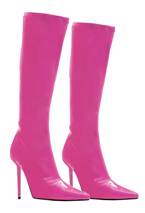 pink high heel boots is heel