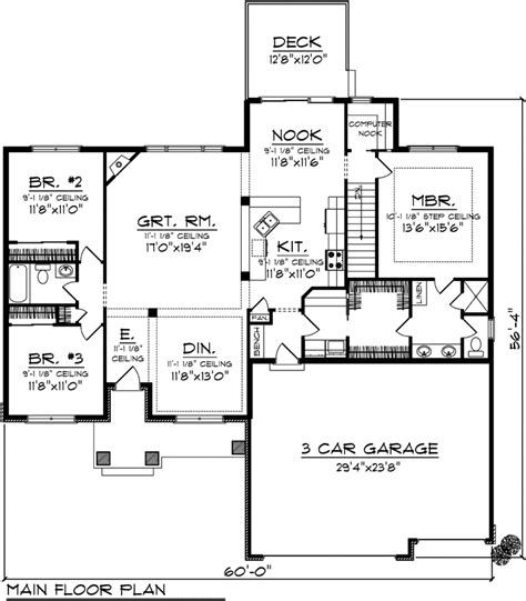 bungalow ranch house plans bungalow craftsman ranch traditional house plan 73135
