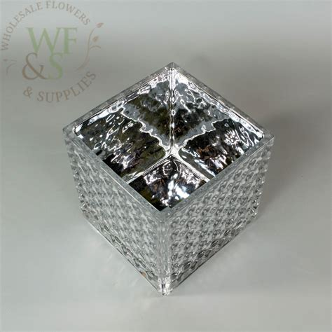 Silver Square Vases by Square Silver Mirrored Glass Cube Vase Dimple Effect 5x5