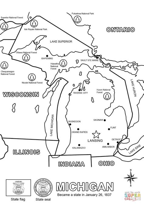 printable map coloring page michigan map coloring page free printable coloring pages