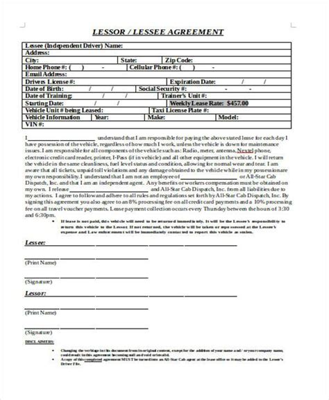 truck lease agreement template sle truck lease agreements 9 free documents in word pdf