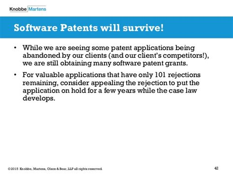 patent law section 101 software patent eligibility a post alice landscape