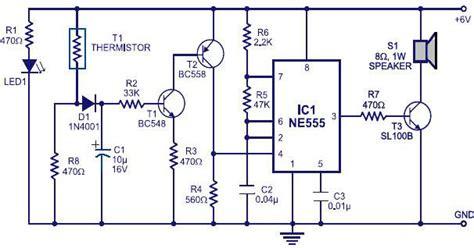 transistor t1 bc548 alarm using thermistor ne555 the circuit