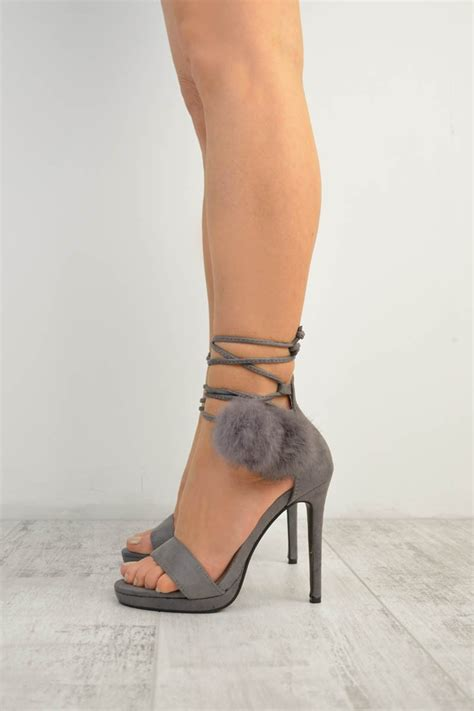Heels D G 653 7 grey suede lace up faux fur pom stiletto high heel