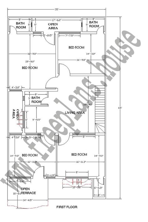 35sqm to sqft 35 215 65 feet 211 square meters house plan