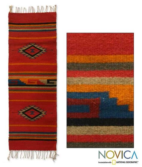 Zapotec Wool Rugs by Handmade Mexican Crimson Sun Zapotec Wool Rug 1 4 X 4 1