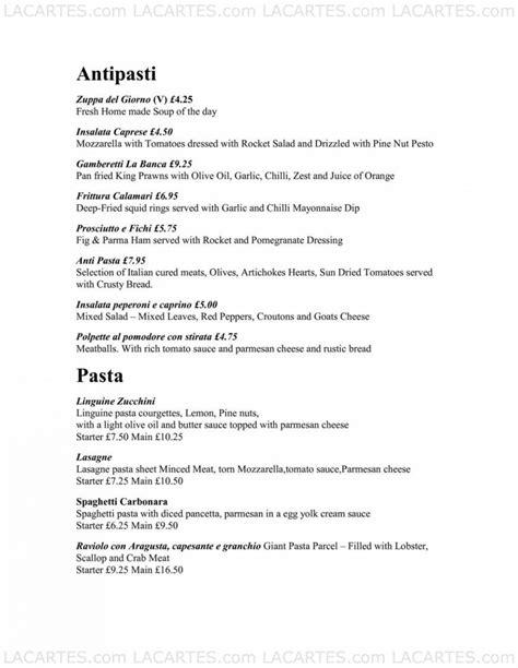 La Banca Restaurant by 1 Of 4 Price Lists Menus La Banca Restaurant