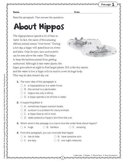 Grade 4 Comprehension Worksheets Free by Worksheets Comprehension Stories For Grade4 Opossumsoft