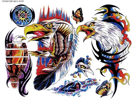 tribal tattoo with color colored eagle and tribal designs