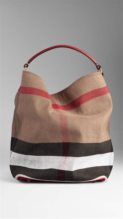 Burberry Check Canvas Hobo by Burberry Medium Check Canvas Hobo Bag Lyst