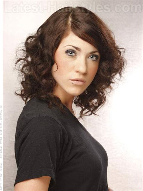 long bob hairstyles brunette summer long brunette curly bob with waves