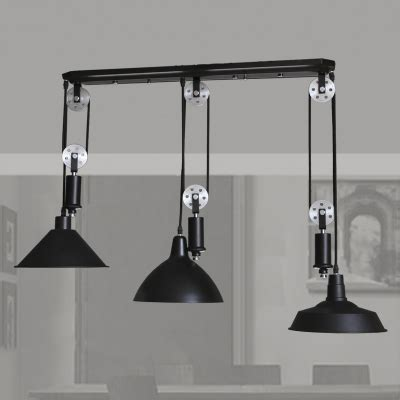 three pendant lights black 3 light pulley large pendant light beautifulhalo