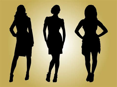 fashion models silhouettes vector graphics