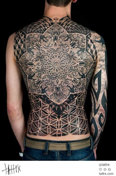 tattoo geometric back dotwork damian full back sacred geometry tattoos