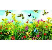 Birds Butterflies And Flowers Spring Nature Art Wallpaper