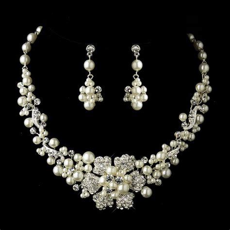 rhinestone for jewelry ivory pearl and rhinestone flower wedding jewelry set