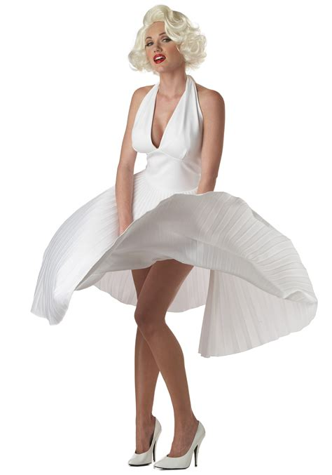 white dress halloween costume marilyn monroe deluxe white dress
