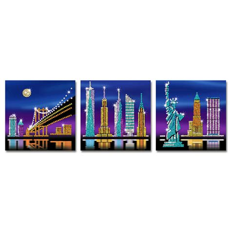 New York Set Murah 3 paillettenbilder im set new york