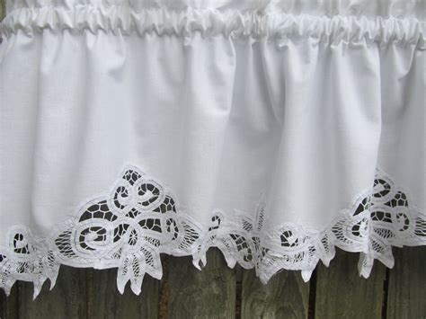 White Valance Curtains Country Battenburg Lace Curtain Valance In White Cotton