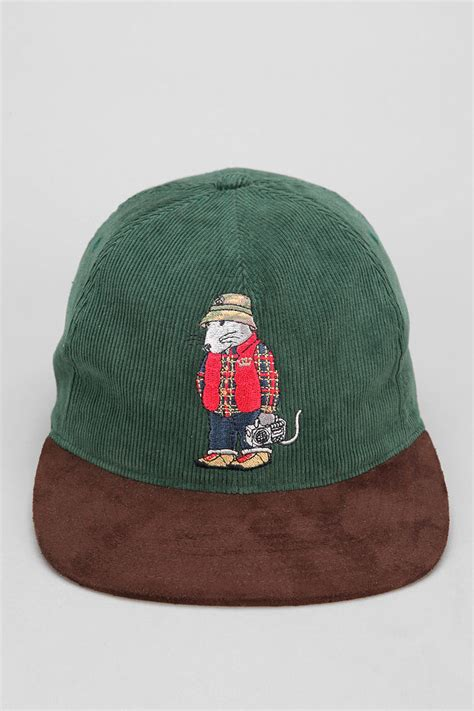 Topi Hats Stussy 1 outfitters stussy rat corduroy snapback hat in green for lyst