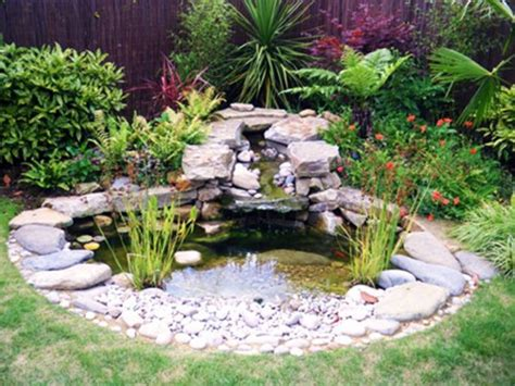 gardens with pebbles small garden pond design ideas