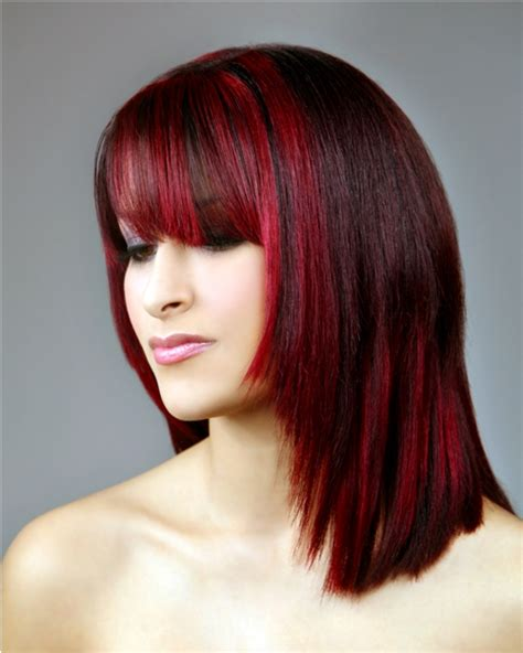 pictuted of red highlights on dark hair with spiky cut red hair with highlights pictures di candia fashion