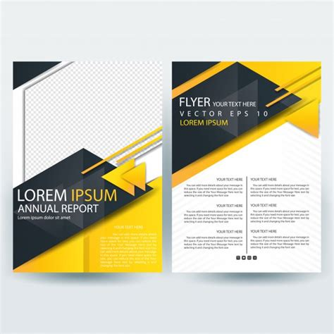 black brochure template business brochure template with black and yellow triangle